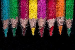 beaded, colour pencils, underwater