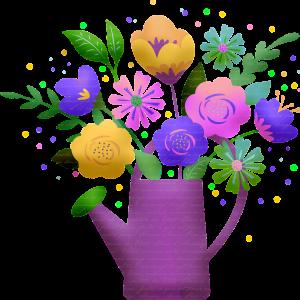 flower bouquet, flowers, watering can